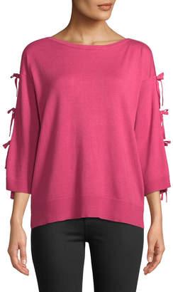 Neiman Marcus Bow-Sleeve Sweater