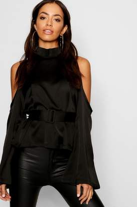 boohoo Satin Cold Shoulder Belted Top