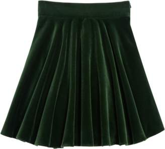 Oscar de la Renta Cotton Velvet A-Line Pleated Skirt