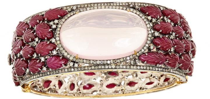 Carved Tourmaline & Rose Quartz Oval Bangle Bracelet