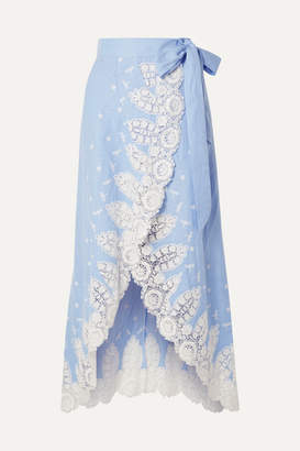 Miguelina Clarice Crochet-trimmed Linen Wrap Skirt - Light blue