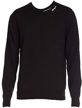 Alexander McQueen Men's Logo Crewneck Wool-Blend Sweater