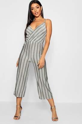 boohoo Metallic Stripe Wrap Cullothe Jumpsuit