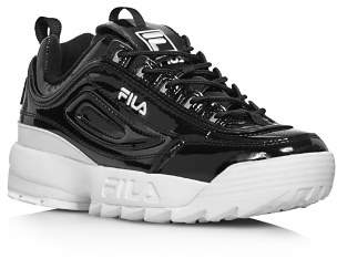 Fila Women's Disruptor II Round Toe Patent Leather Platform Dad Sneaker