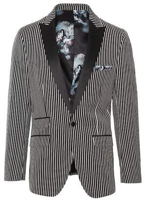 Paisley & Gray Grosvenor Black White Stripe One Button Peak Lapel Slim Fit Tuxedo Jacket