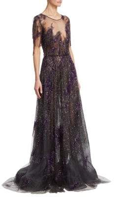 Pamella Roland Sequin Embroidered-Fringe Illusion Silk Gown