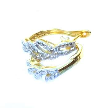 Yellow Gold Plated Sterling Silver & Diamond Earrings