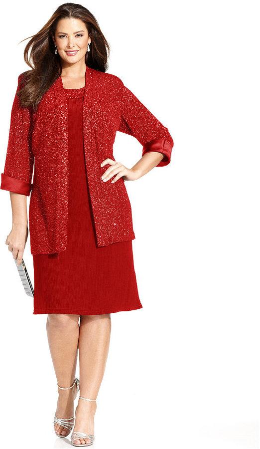 R & M Richards R&M Richards Plus Size Sleeveless Glitter Shift and Jacket