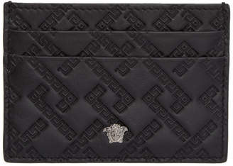Versace Black Embossed Greek Card Holder