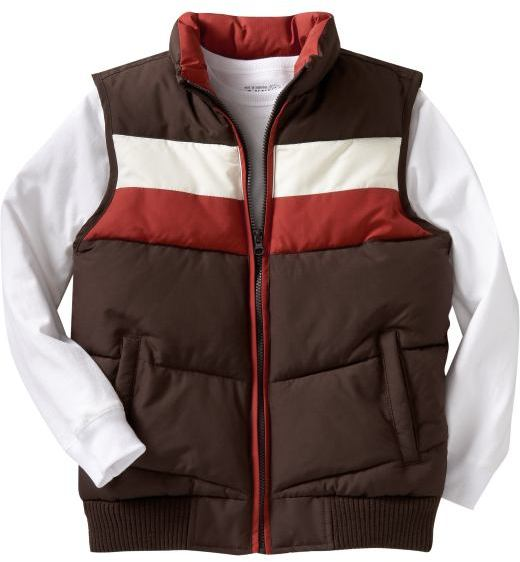 Boys Chest-Stripe Quilted Vests