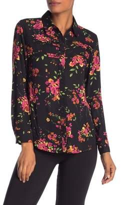 Nanette Lepore NANETTE Crepe Floral Pleated Button Down Shirt