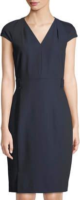 Tahari ASL Ren V-Neck Twill Sheath Dress