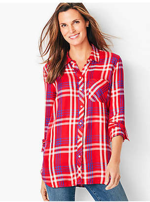 Talbots Button-Front Tunic-Plaid