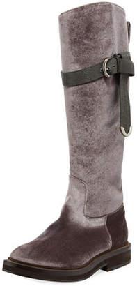 Brunello Cucinelli Velvet Riding Boot w/ Monili Strap