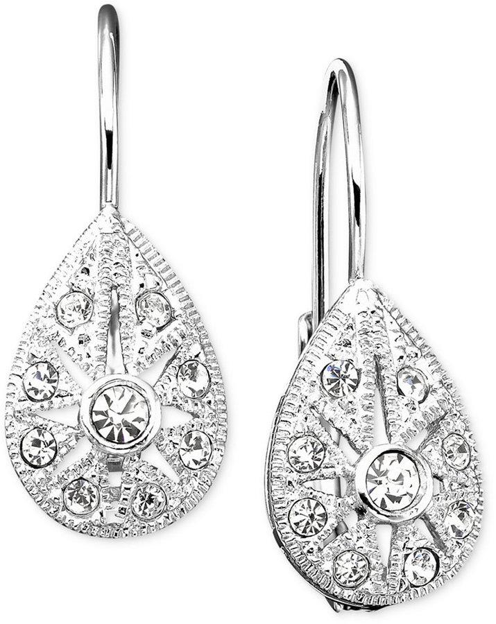Danori Earrings, Crystal Accent Teardrop Leverback