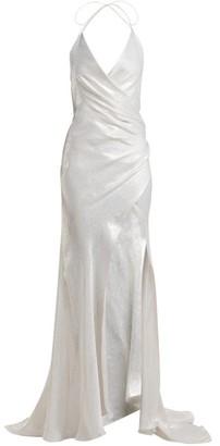 Adriana Iglesias - Scarface Silk Blend Satin Gown - Womens - White