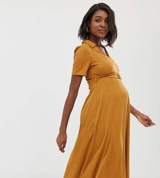 df3a28d0c5fa8 Asos DESIGN Maternity rib midi shirt dress with faux tortoiseshell buckle