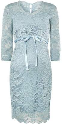 Dorothy Perkins Womens **Mamalicious Maternity Blue Lace Shift Dress