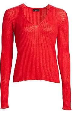 Rag & Bone Rag& Bone Rag& Bone Women's Donna Rib-Knit V-Neck Sweater
