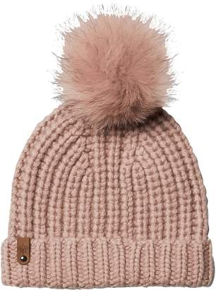 Mackage Doris Cashmere Beanie with Removable Genuine Fox Fur Pom