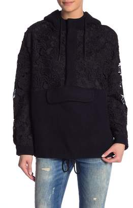 Scotch & Soda Crochet Lace & Wool Blend Hooded Pullover