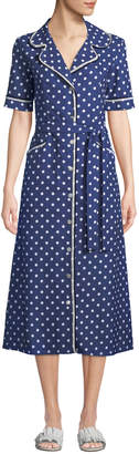 Evi Grintela Gloria Polka-Dot Cotton Midi Shirtdress