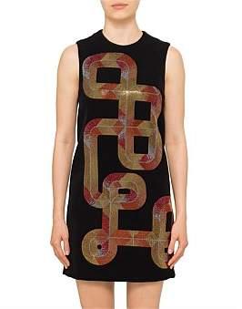Versace S/L Mini Dress W/ Crystals