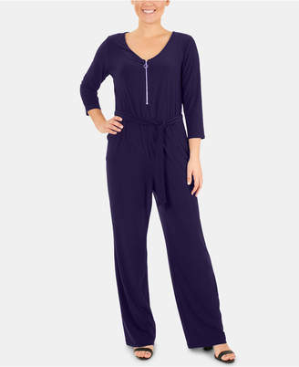 29f59a45bb NY Collection Petite Zip-Front Jumpsuit