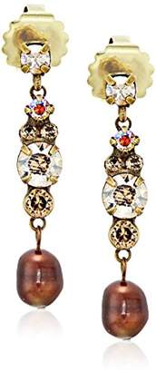 Sorrelli Core Antique Gold Tone Neutral Territory Stacked Rounds Drop Earrings