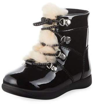 UGG Ager Patent Leather Boots w/ Sheepskin Tongue, Toddler