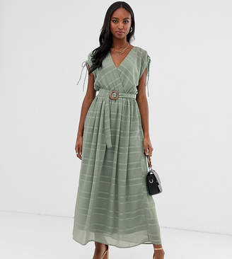 f4b0fe89fe0 Asos Tall DESIGN Tall wrap front maxi dress with buckle belt in self stripe