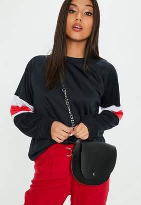 Missguided Black Ring Chain Detail Cross Body Bag