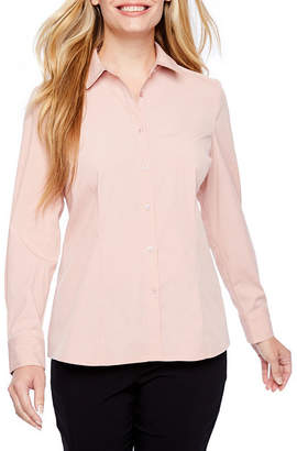 Liz Claiborne Womens Long Sleeve Button-Front Shirt-Petite