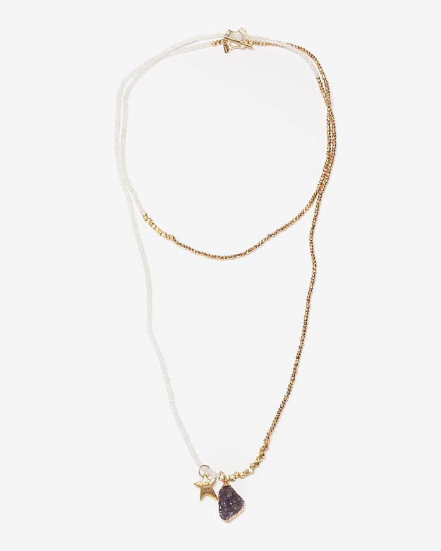 Lindsay Vallan Pyrite Moonstone Wrap Necklace