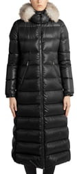 Moncler Hudson Long Quilted Down Coat with Genuine Fox Fur Trim