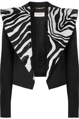 Saint Laurent Cropped Sequin-embellished Wool-crepe Tuxedo Blazer - Black
