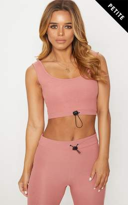 PrettyLittleThing Petite Charcoal Ribbed Scoop Neck Crop Top