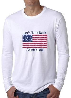 Hollywood Thread Let's Take Back America Republican Flag Slogan Men's Long Sleeve T-Shirt