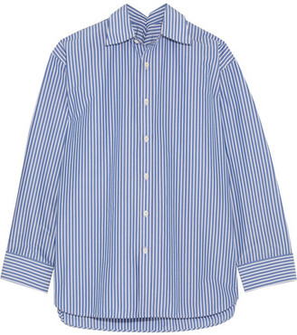 Balenciaga - Oversized Striped Cotton-blend Poplin Shirt - Blue $855 thestylecure.com