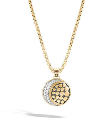 John Hardy 18k Dot Diamond Moon Phase Pendant Necklace