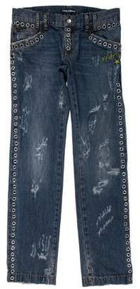 Dolce & Gabbana 2005 Grommet-Accented Distressed Jeans