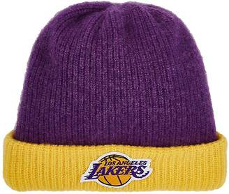 The Elder Statesman X NBA X NBA MEN'S LOS ANGELES LAKERS LOGO CASHMERE WATCHMAN'S CAP