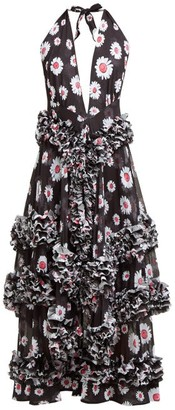 Molly Goddard Antonia Floral Print Ruffled Dress - Womens - Black White