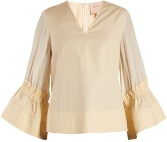 Roksanda Aspen gathered cotton and silk-blend top