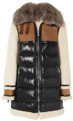 Moncler Shearling, Suede And Quilted Patent-shell Coat - Black