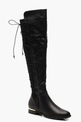 boohoo Lace Back Flat Knee Boots