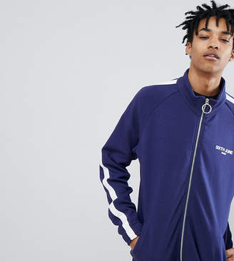 Asos Sixth June Track Jacket In Blue With Side Stripe Exclusive To