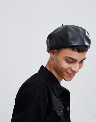Asos DESIGN beret in black faux leather