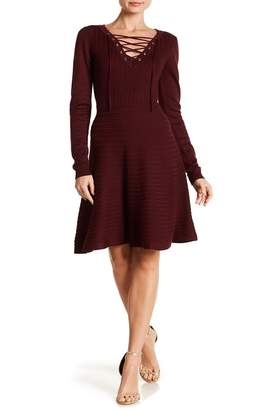 Nina Leonard V-Neck Lace-Up Dress