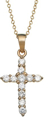 Swarovski Charming Girl 14k Gold Over Silver Cubic Zirconia Cross Pendant Necklace - Made with Zirconia - Kids